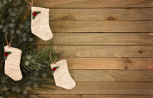 rustic tan Christmas stockings
