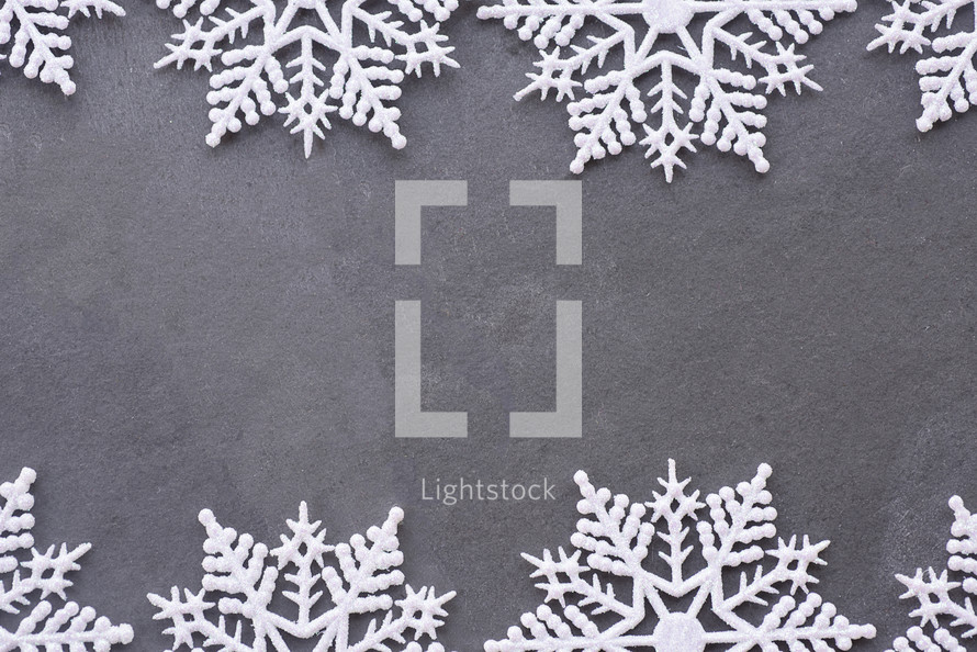 snowflake border on gray