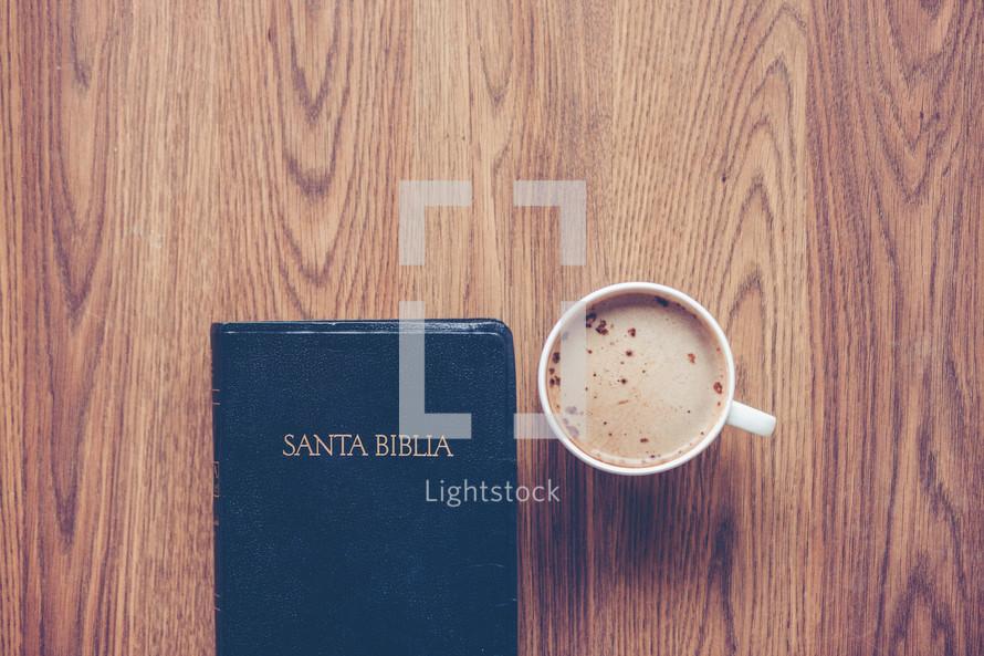 Santa Biblia and cappuccino