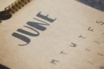 June on a calendar