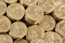 stacks of dollar coins