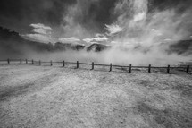 fence line and fog