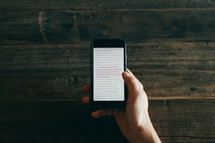 Man reading scripture on his phone