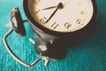 alarm clock lying on its side