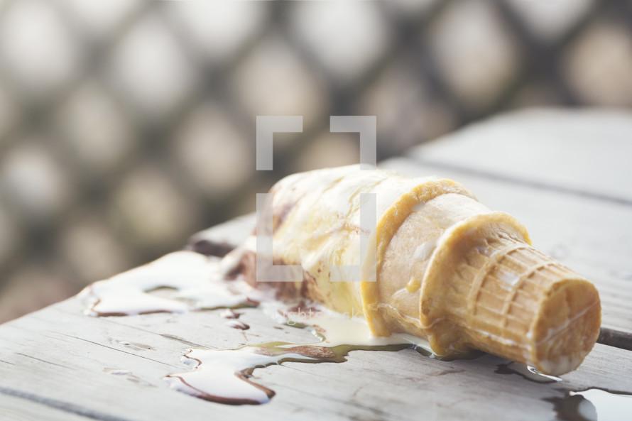 melting ice cream cone