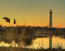Cape May lighthouse at sunset.