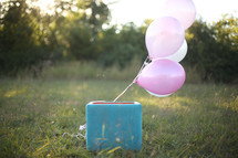 Balloons tied to a box in a field of grass outside.