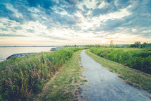 country road waterside