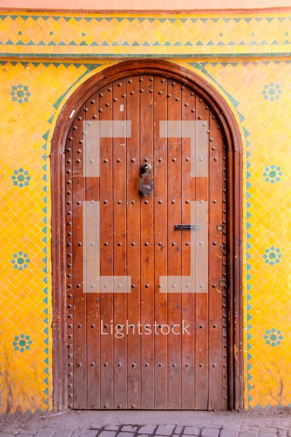 Ancient oriental wooden door.