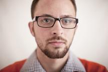 man in reading glasses