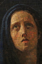 Mary, mother of Jesus, in mosaic tiles