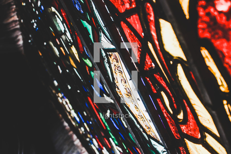 closeup of a stained glass window