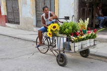 a man selling flowers on the side of a street