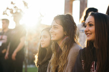 faces of young women in sunlight