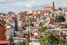 Antananarivo, Madagascar, roof tops of homes and the cathedral on the hill