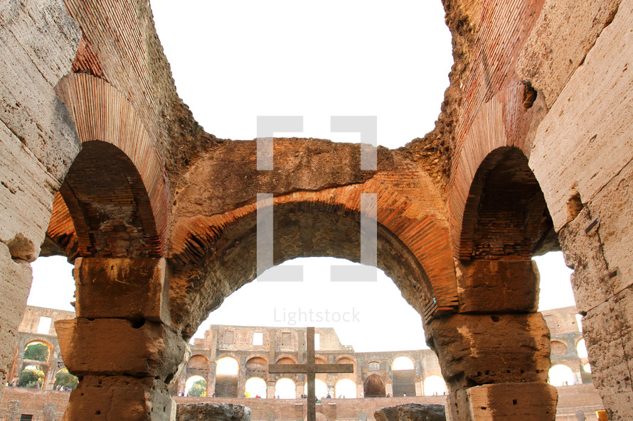 The cross inside the Colosseum in Rome