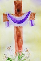 watercolor of a cross at Easter