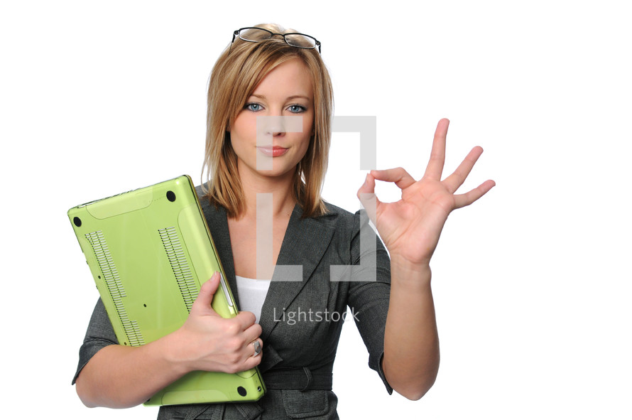 businesswoman giving the ok sign