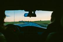 driving down a road, road trip