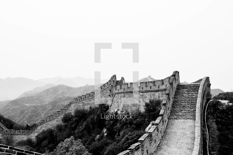 The Great Wall of China and mountains beyond.