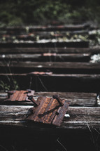 old train tracks and rusty spikes