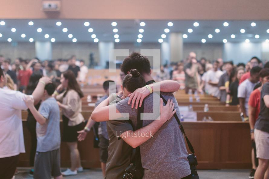 hugs and healing in a church