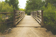 a wood walking bridge