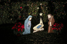 Nativity scene made from wood cut outs