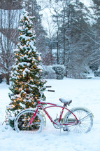 bicycle leaning against a tree in the snow