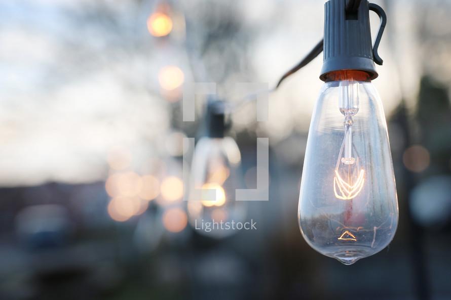 hanging string of lightbulbs