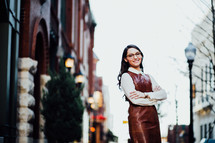 businesswoman with reading glasses