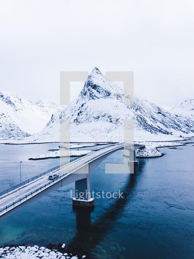 bridge across a waterway in winter