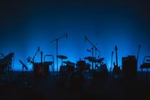 drum set on a dark stage