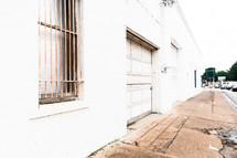 locked garage door on a warehouse building
