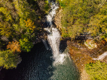aerial view over a waterfall