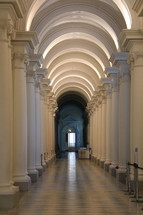 marbled floor, columns, hallway
