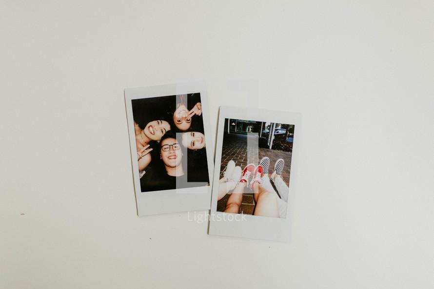 polaroid photographs on a white background