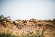 a pile of rocks in the desert