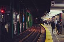 walking through a subway station