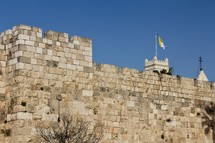 The Walls and Palm Trees around the Old City of Jerusalem (With yellow and white Vatican State flag)