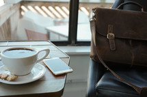 laptop and coffee cup and leather computer bag