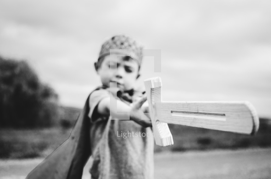 a boy in a crown holding a wooden sword