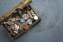 coins in a treasure chest