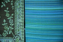 blue and green linens