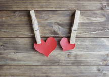 paper hearts on clothespins