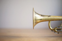 a close up of trumpet horn