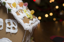 closeup of a gingerbread house