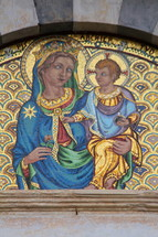 Mosaic tile art of mother Mary and baby Jesus