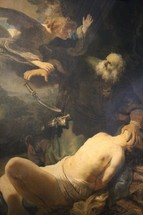 Angel stopping Abraham from offering Isaac