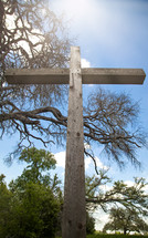 wooden cross outdoors in spring